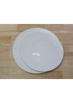 Assiette ronde asymétrique martelée 28 cm